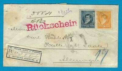 ARGENTINA AR cover 1898 BA sucurs Lorea to Germany