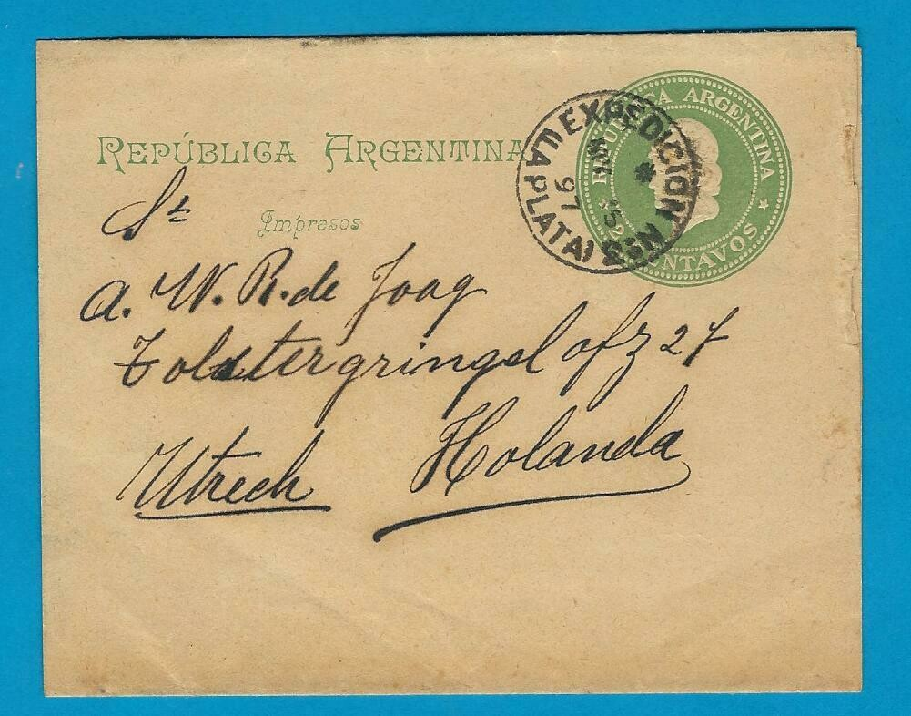 ARGENTINA wrapper 1897 La Plata to Netherlands