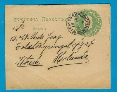 ARGENTINA wrapper 1897 La Plata to Netherlands