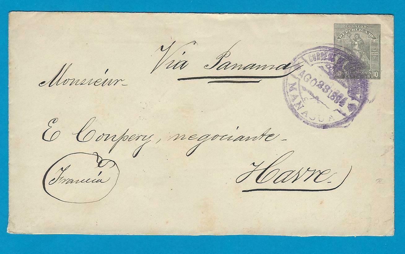 NICARAGUA envelope 1894 Managua to France