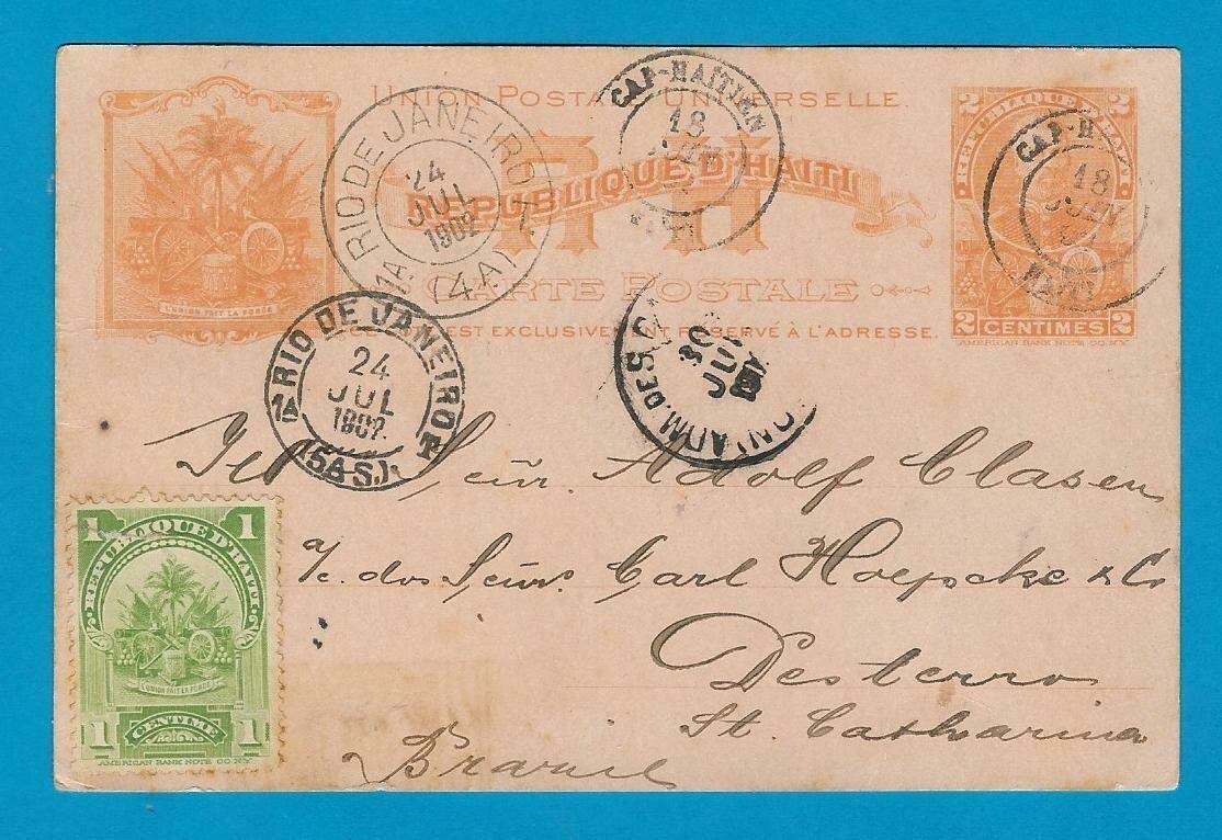HAITI postal card 1902 Cap Haitien over USA to Brazil