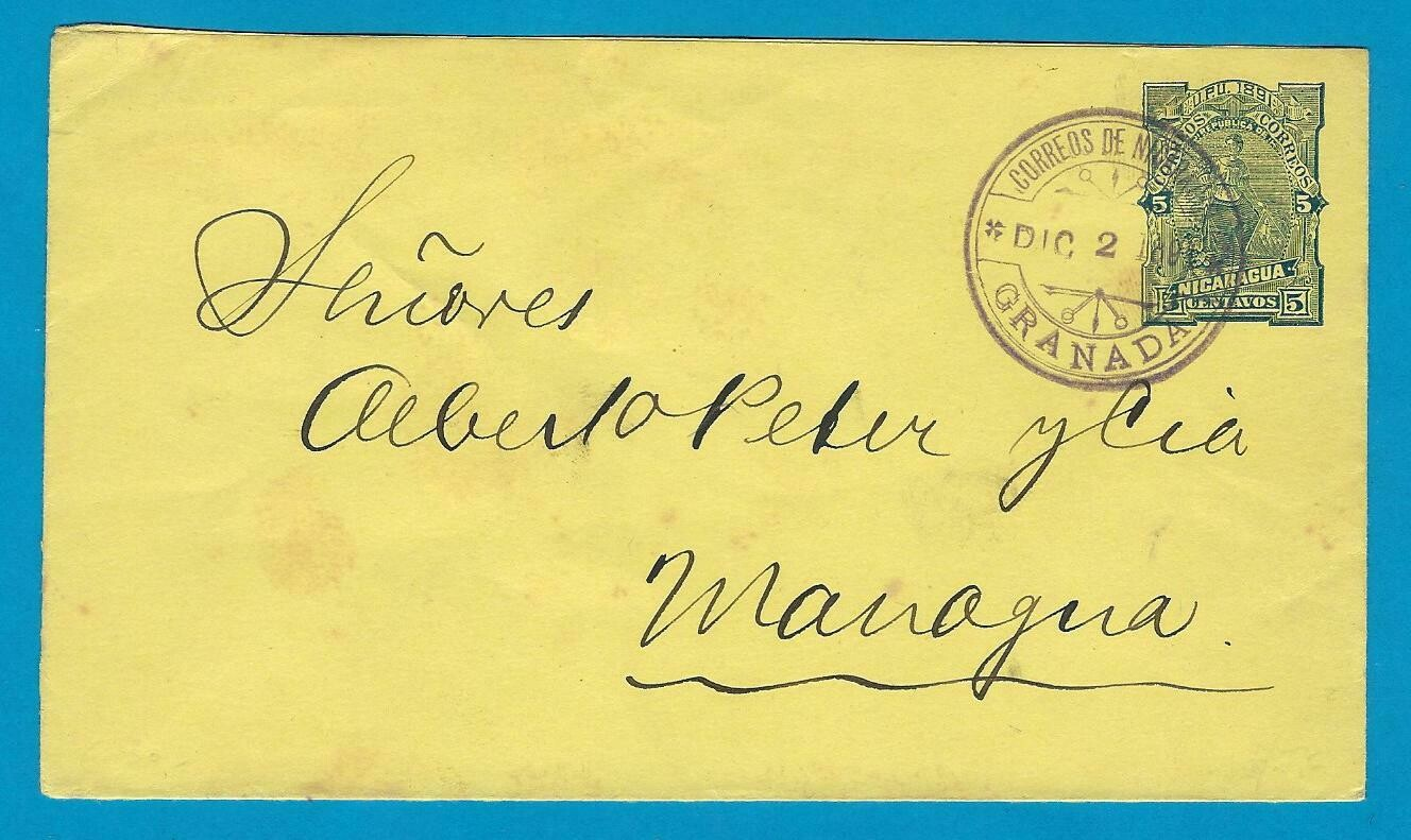NICARAGUA envelope 1891 Granada to Managua