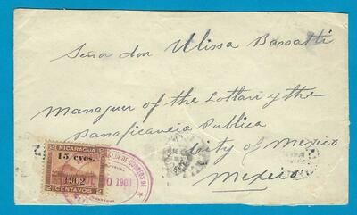 NICARAGUA cover 1903 Bluefields over USA to Mexico