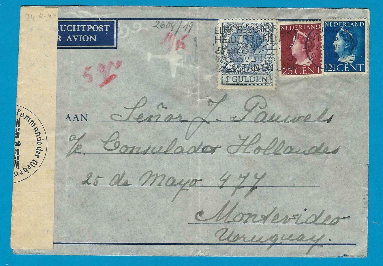 NEDERLAND lp brief 24-6-1940 Den Haag per LATI naar Uruguay
