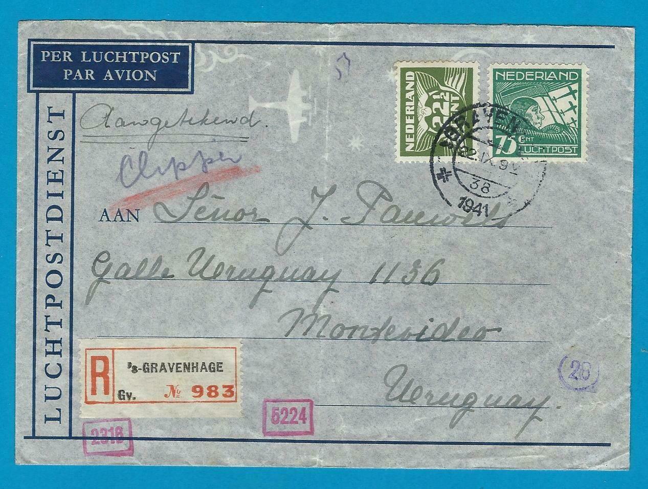 NEDERLAND R lp brief 1941 Den Haag naar Uruguay