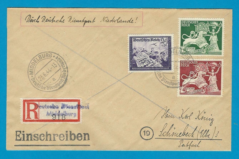 NEDERLAND R brief 1944 Middelburg Deutsche Dienst Post