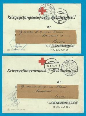 NEDERLAND 2 rode kruis fomulieren 1942 ontvangst pakket