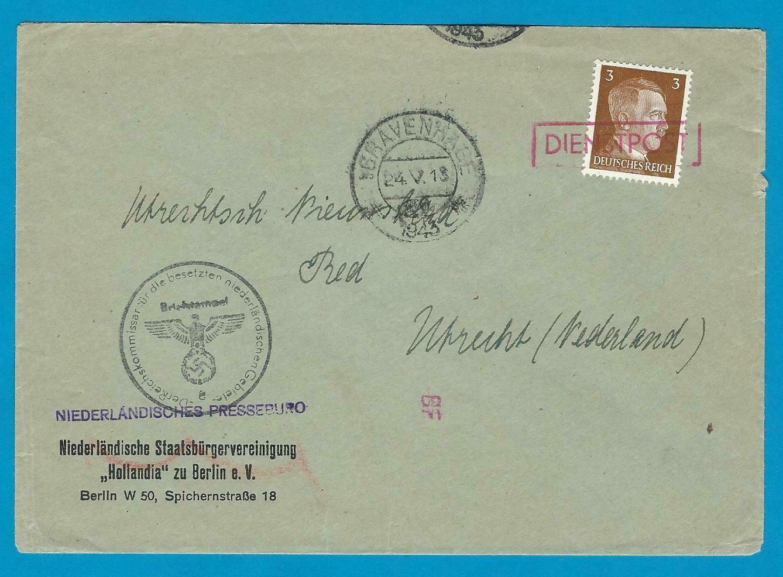 NEDERLAND brief Persbureau Berlijn 1943 DIENSTPOST naar Utrecht