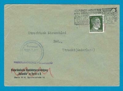 NEDERLAND brief Persbureau 1943 per DIENSTPOST naar Utrecht