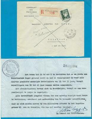 NEDERLANDS consulaat R brief 1944 oproep voor militaire dienst