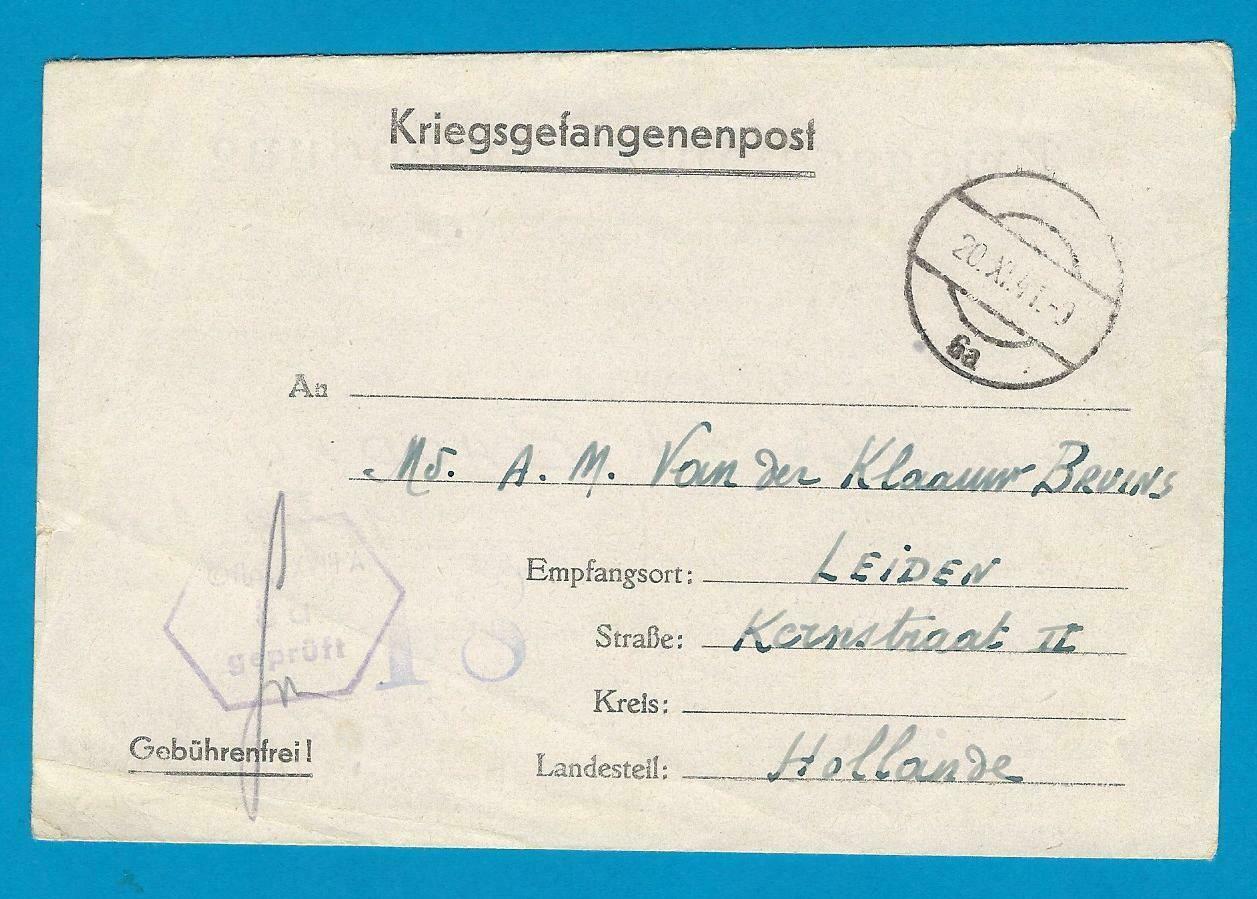 NEDERLAND krijgsgevangenen brief met voordruk 1941