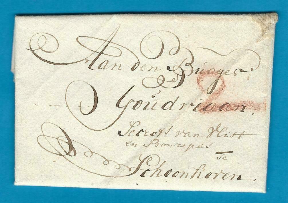 NEDERLAND vouwbrief 1795 Gouda naar Schoonhoven