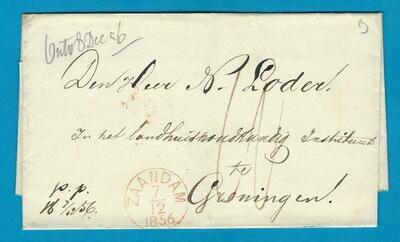 NEDERLAND omslag 1856 Zaandijk (langstempel)