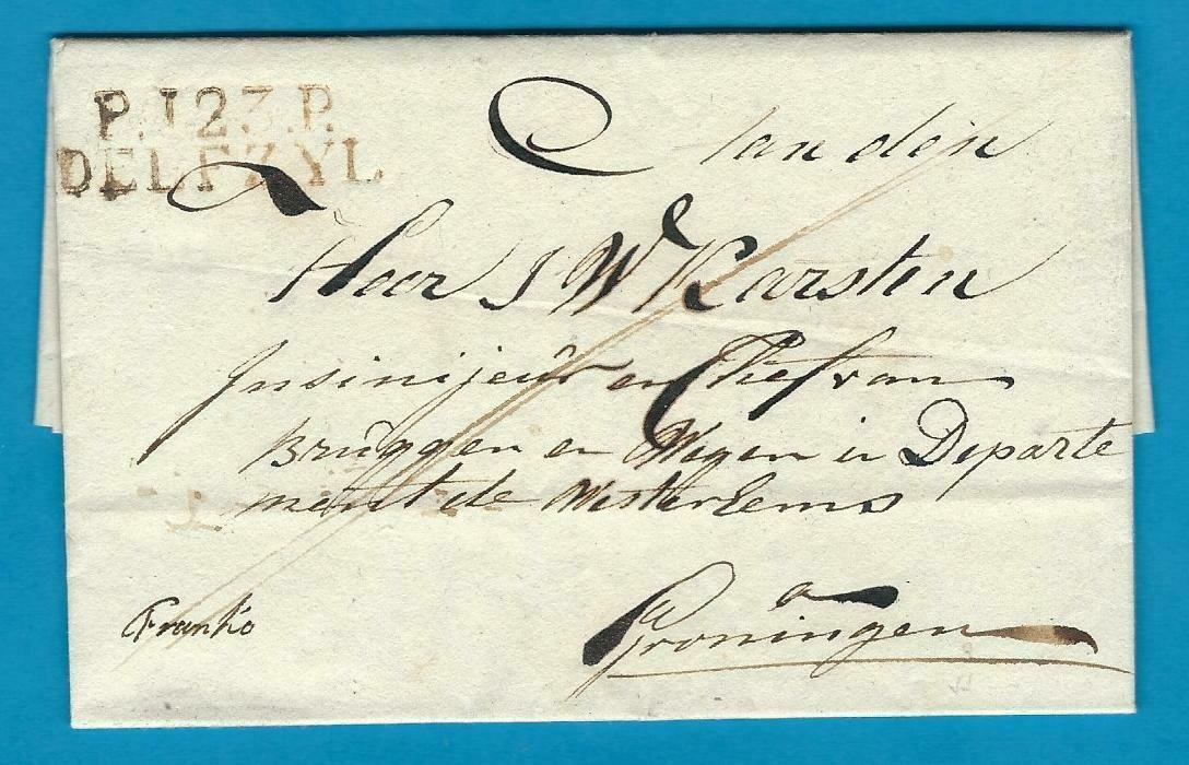 NEDERLAND complete brief ca 1812 P123P Delfzyl