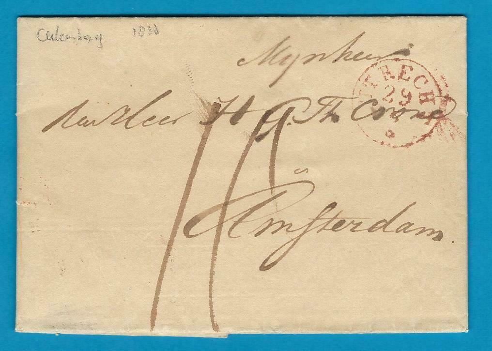 NEDERLAND complete brief 1838 Culemborg naar Amsterdam