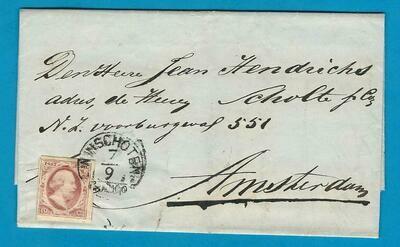 NEDERLAND brief 1857 Winschoten naar Amsterdam