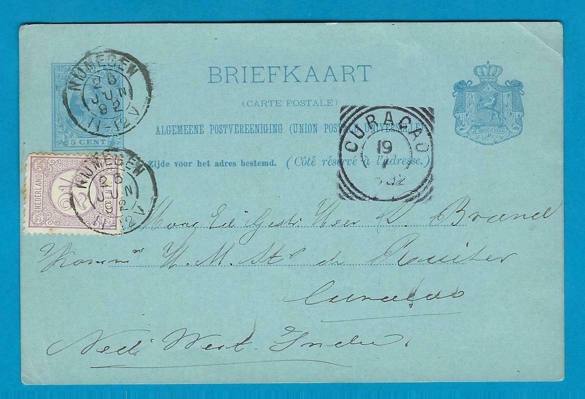 NEDERLAND briefkaart 1892 Nijmegen naar Curaçao