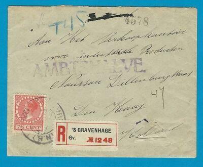 NEDERLAND brief 1929 Sonsbeek ambtshalve aangetekend