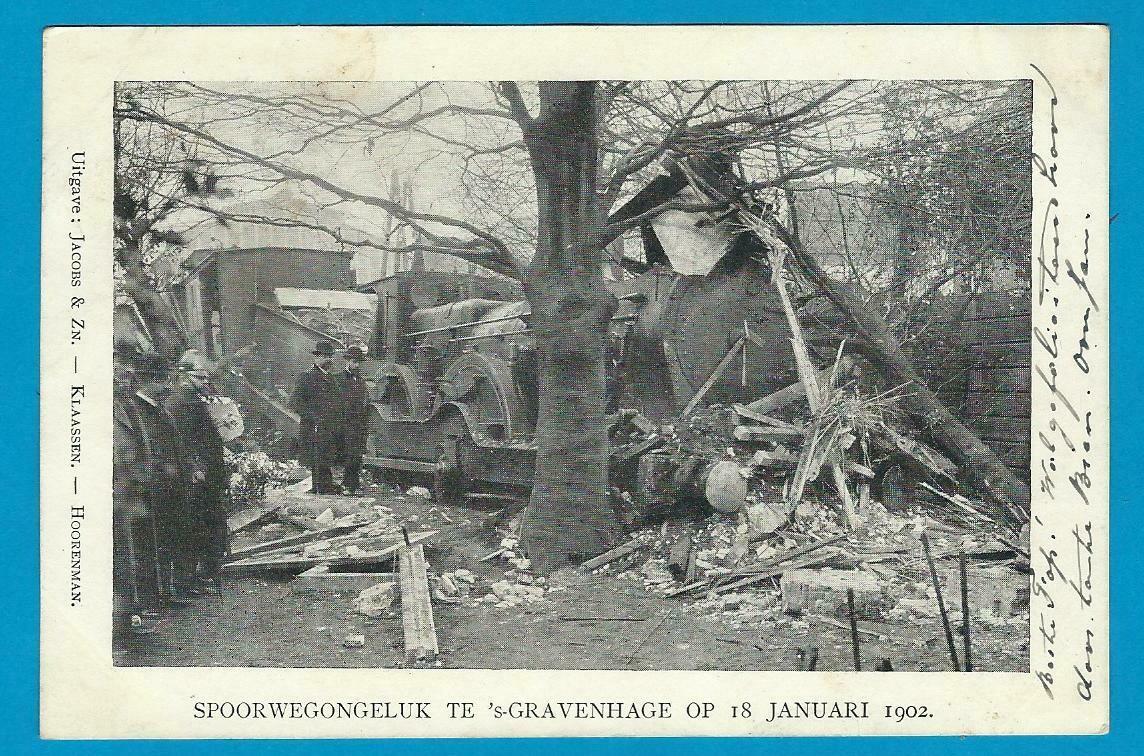 NEDERLAND prentbriefkaart 1902 Trein ongeluk Den Haag