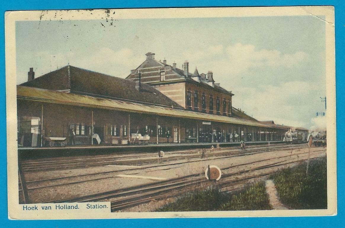 NEDERLAND prentbriefkaart Hoek van Holland station 1912
