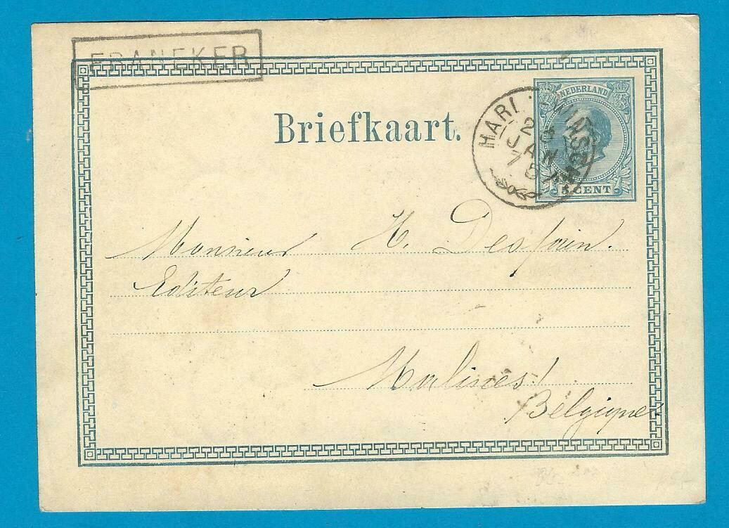 NEDERLAND briefkaart 1875 Franeker treinstempel Harl:-Winsch: