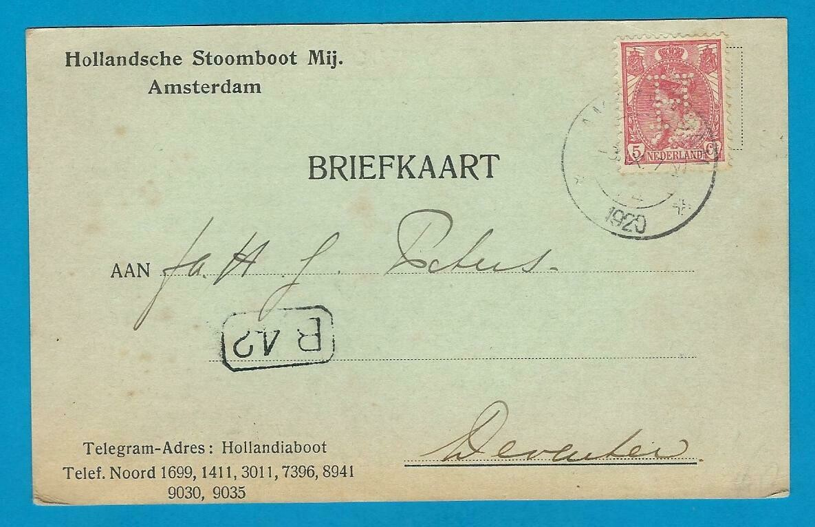 """NEDERLAND briefkaart HSM 1920 Amsterdam perfin """"H"""""""