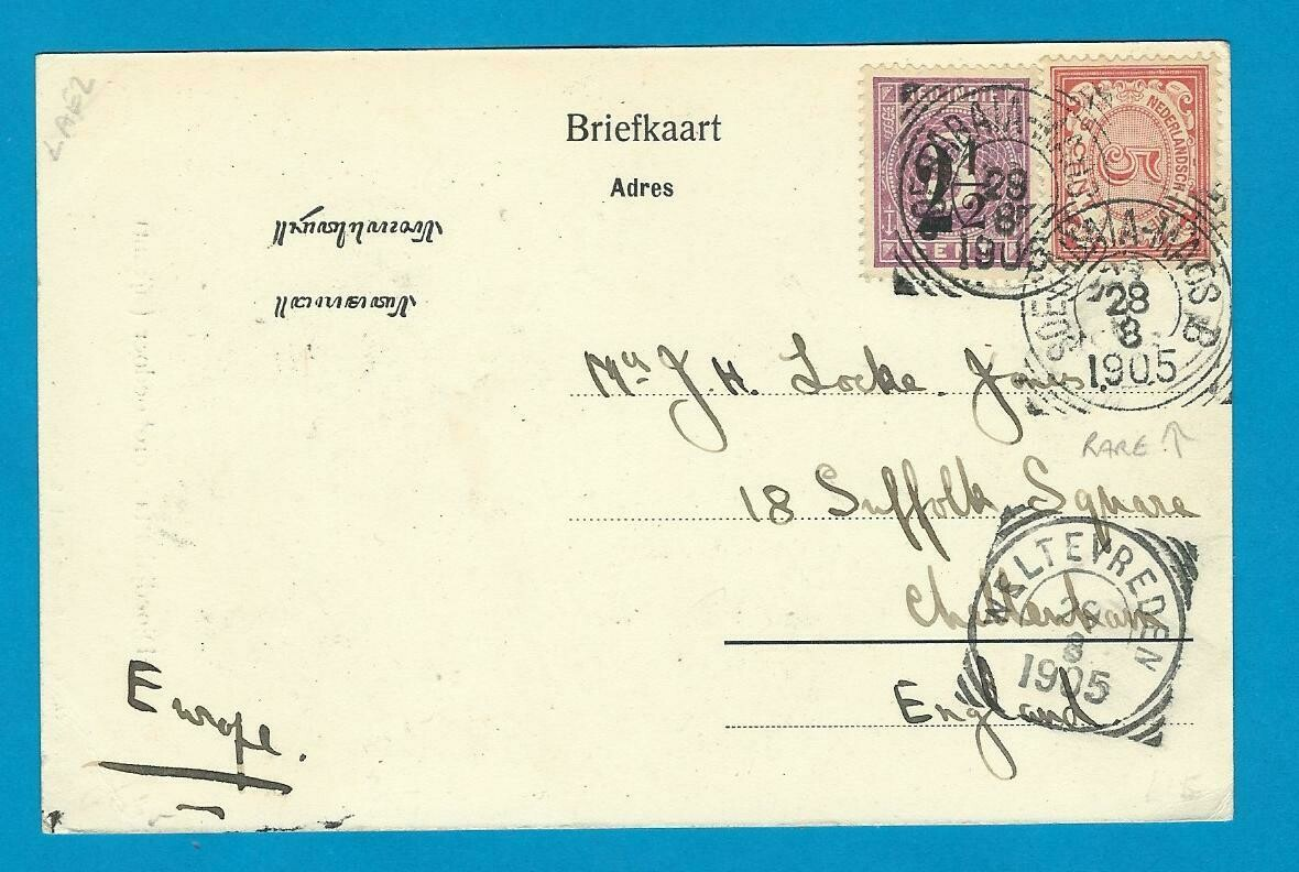 NETHERLANDS EAST INDIES PPC 1905 Soerabaja-Moas B train