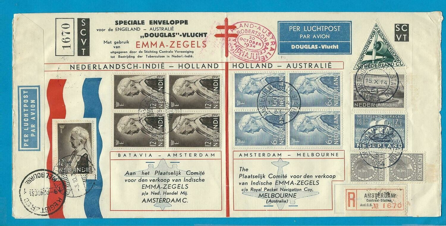 NETHERLANDS EAST INDIES UIVER air cover 1934 + envelope
