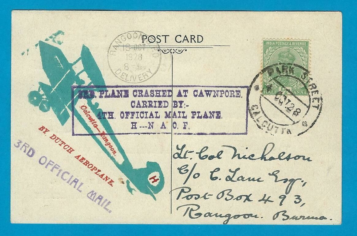 INDIA card 1928 for KLM flight but due crash at Cawnport delayed