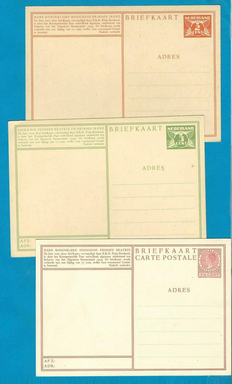 NEDERLAND 3 geïllustreerde briefkaarten 1940 prinsessen