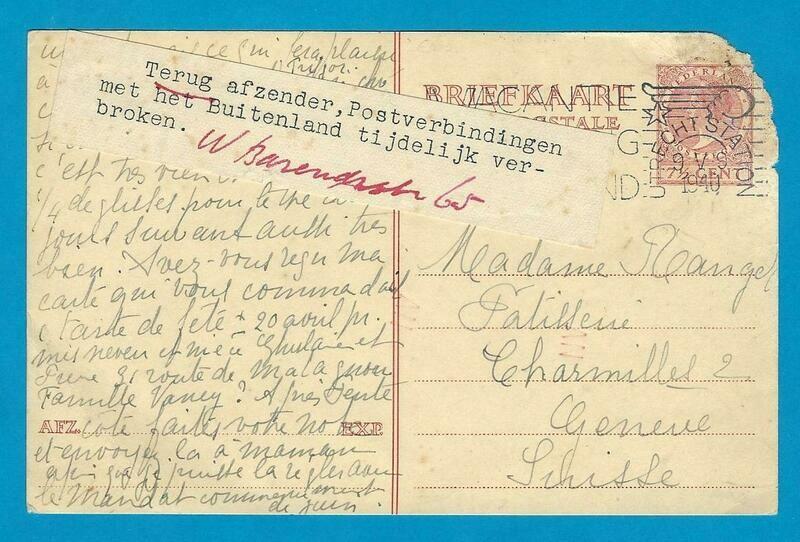 NEDERLAND briefkaart 9-V-1940 Utrecht postverbinding verbroken