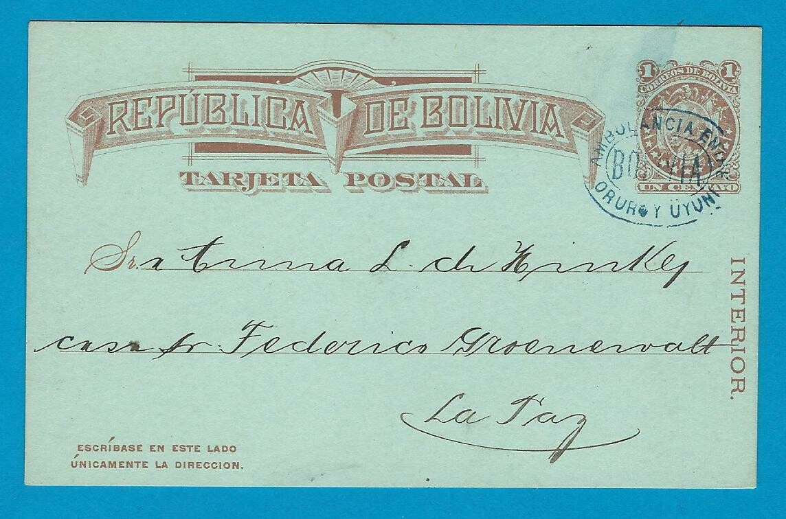 BOLIVIA postal card with Ambulancia cancel Oruru y Uyuni