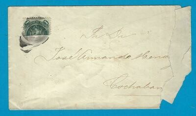 BOLIVIA daqmaged cover with bisect 20Ctvos to Cochabamba