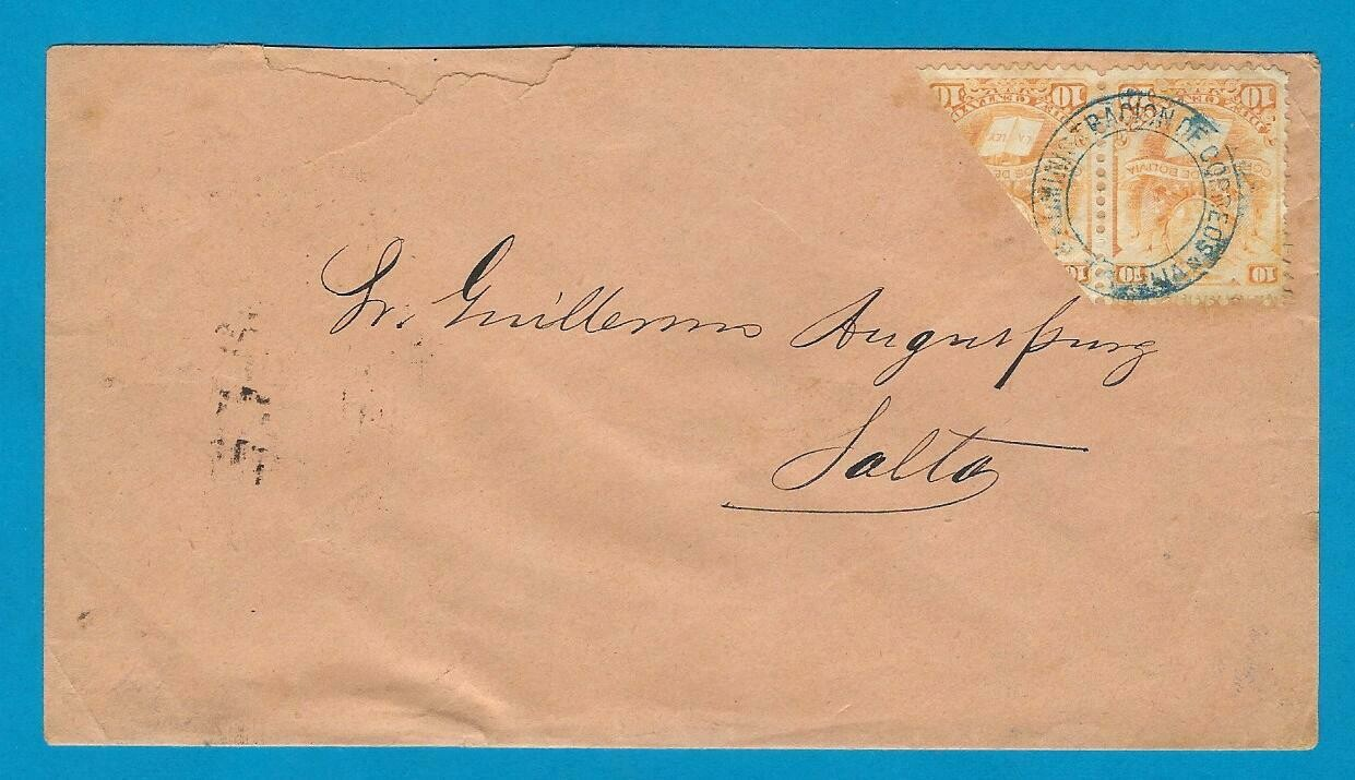 BOLIVIA cover 1886 with bisect of 10ctvos making 15 ctvos rate to Salto