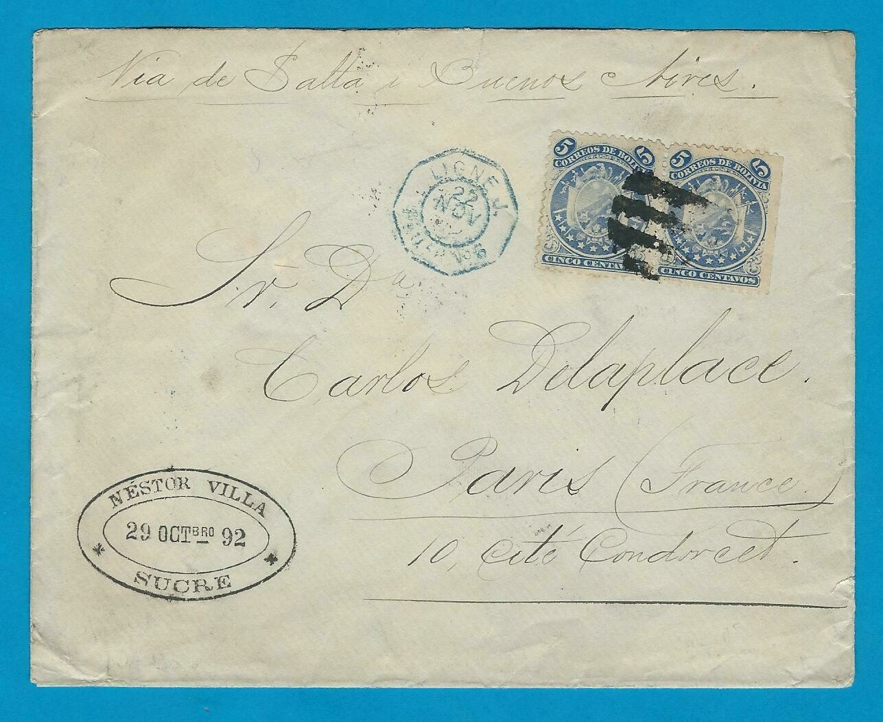 BOLIVIA cover 1892 Sucre by French paquebot to Paris