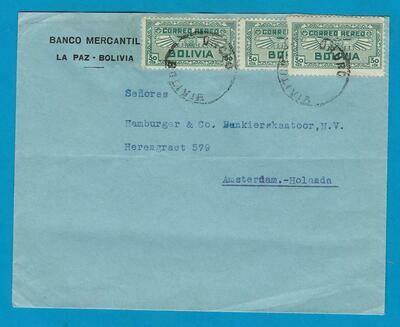 BOLIVIA cover 1933 Oruro to Amsterdam