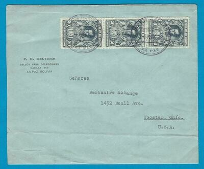BOLIVIA cover 1932 La Paz to USA with Canal Zone transit