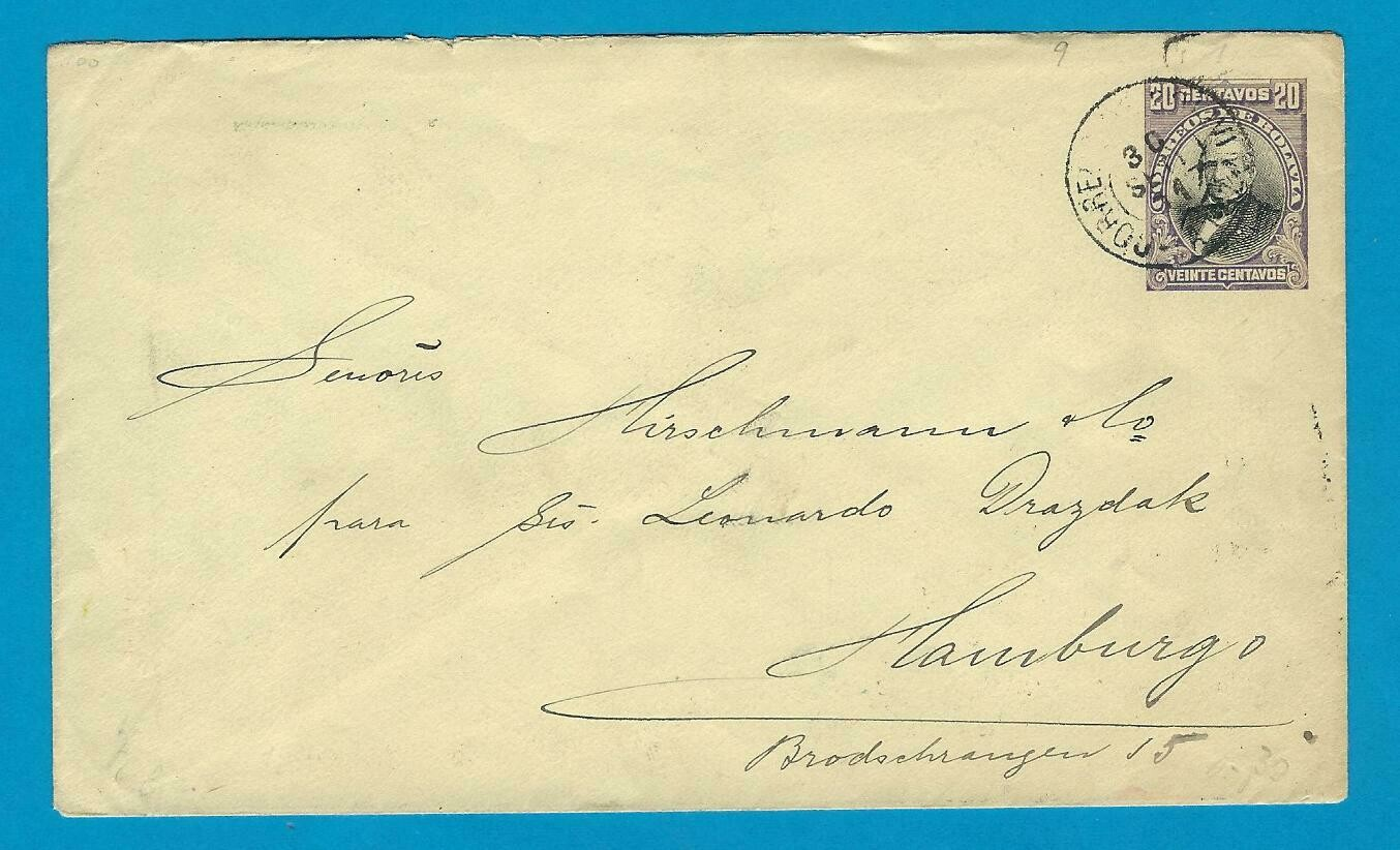 BOLIVIA uprated cover 1911 La Paz to Germany