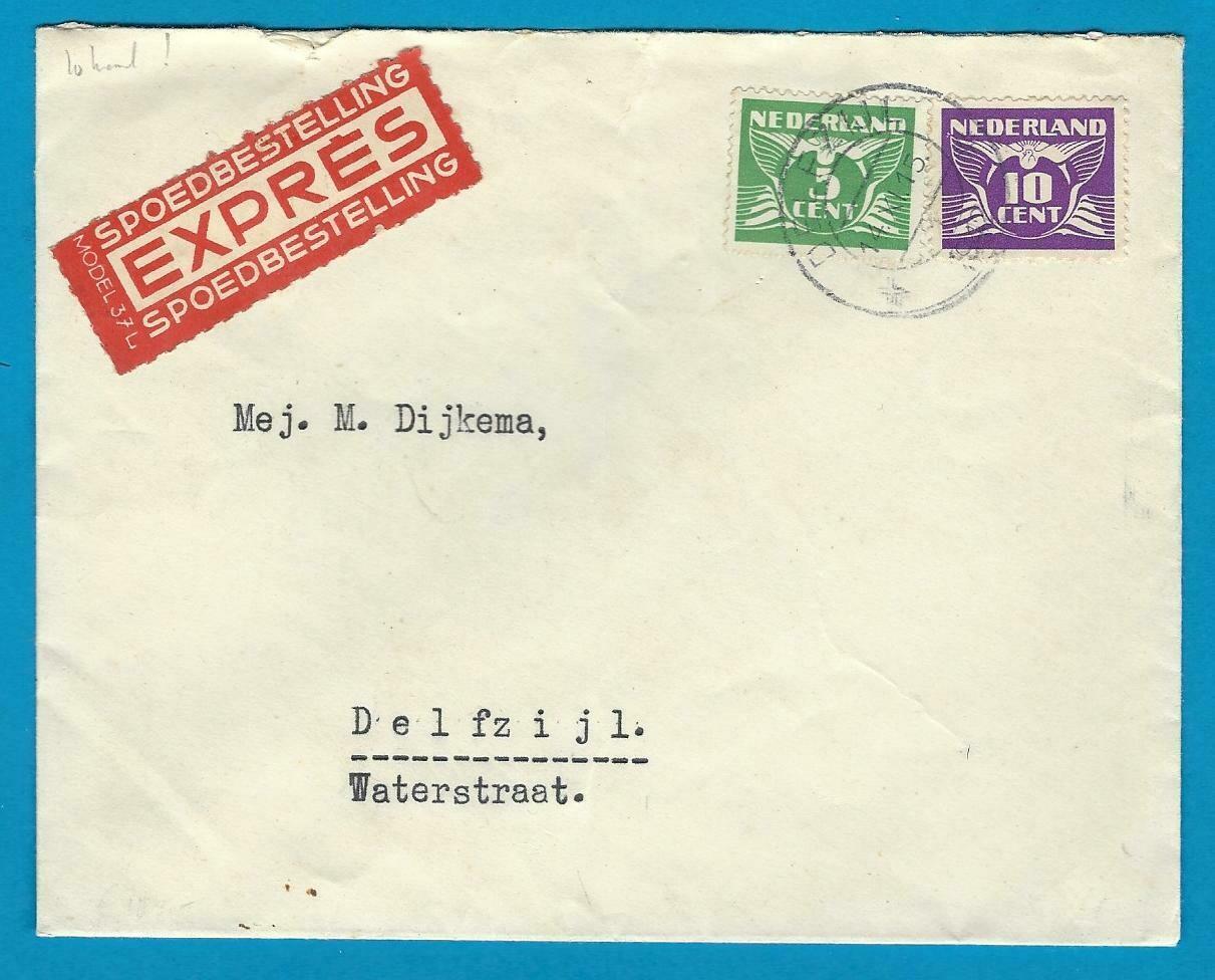 NEDERLAND lokaal expres brief 1942 Delfzijl