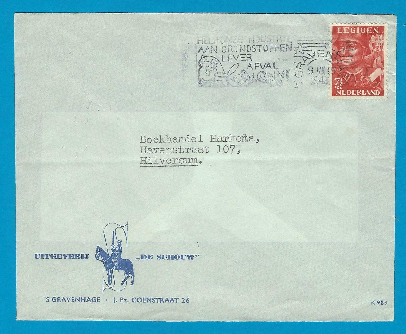 NEDERLAND brief 1943 's Gravenhage legioen zegel