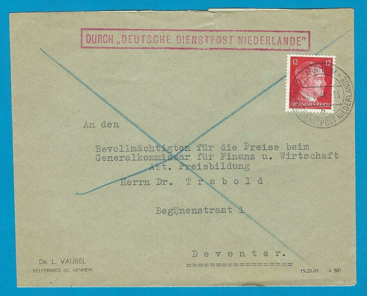 NEDERLAND brief 1944 Arnhem Durch Deutsche Dienstpost