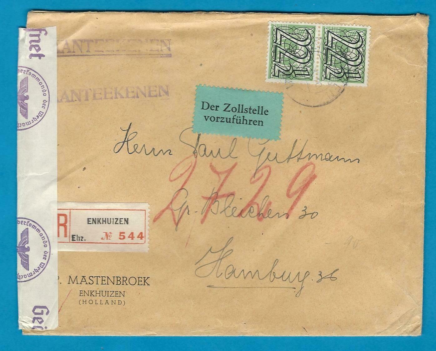 NEDERLAND gecensureerde R brief 1941 Enkhuizen