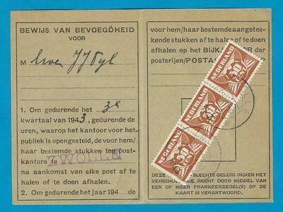 NEDERLAND postbewijs 1943 Zwolle