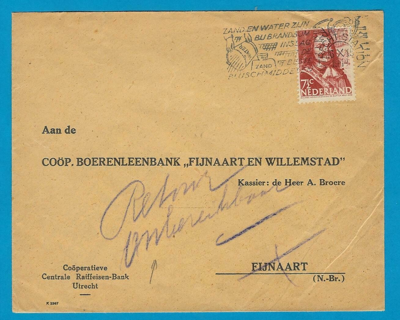 "NEDERLAND brief 26-X-1944 Utrecht ""Retour onbereikbaar"""