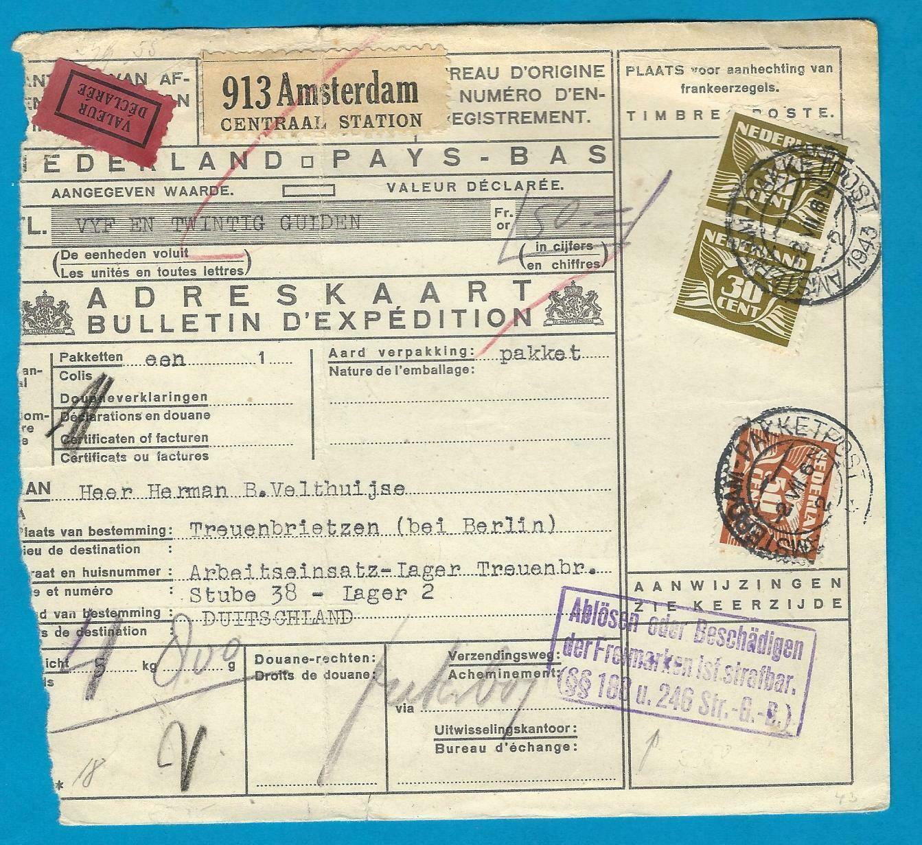 NEDERLAND pakketkaart met waarde 1943 Amsterdam