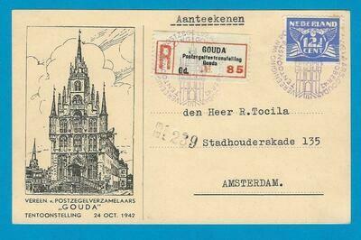 NEDERLAND R briefkaart 1942 Goudse Postzegel tentoonstelling
