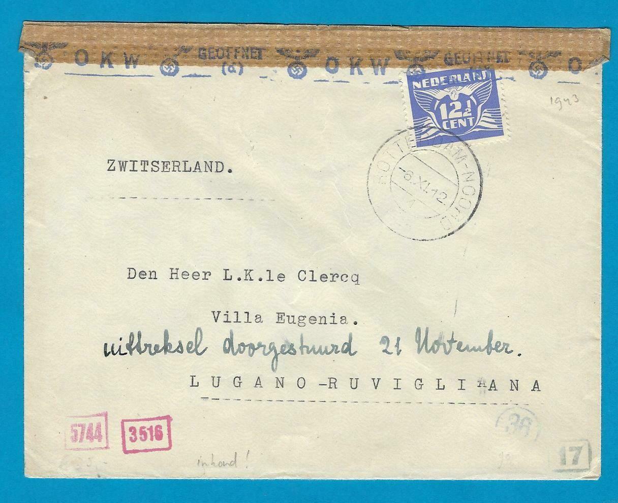 NEDERLAND censuur brief 1943 Rotterdam naar contact adres