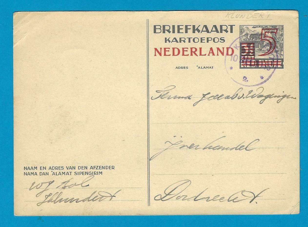 NEDERLAND briefkaart 1945 Klundert noodstempel