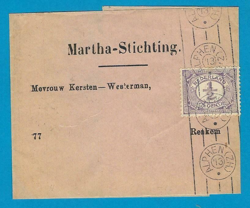 NEDERLAND krantenbandje 1913 Alphen naar Renkum