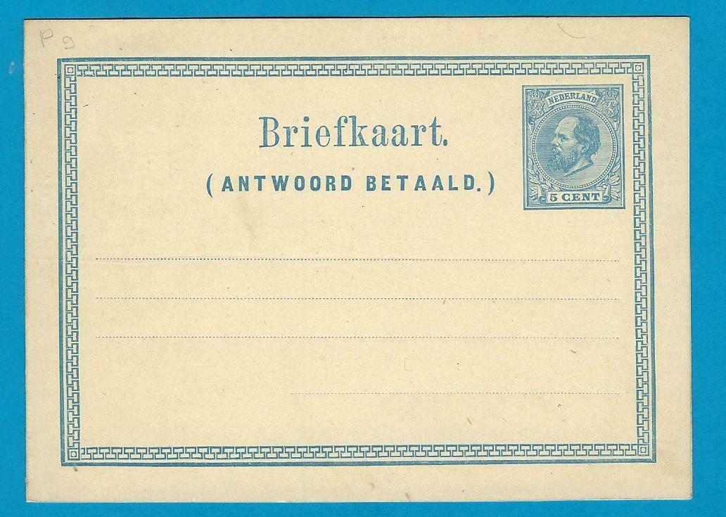NEDERLAND briefkaart met betaald antwoord G-9 *